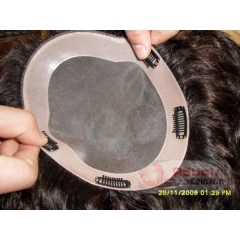 Instock Indian remy hair mono base toupee